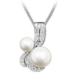 Okouzlující náhrdelník s perlami a zirkony SC422 (řetízek, přívěsek)