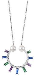 Dámský náhrdelník se zirkony a perlami SC349
