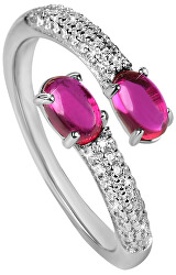 Nyitott ezüst gyűrű cirkóniával SC309