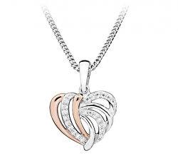 Romantický srdíčkový bicolor náhrdelník se zirkony SC442