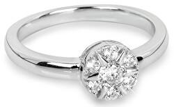 Strieborný prsteň Kvetina so zirkónmi SC206