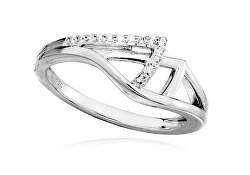 Ezüst gyűrű átlátszó cirkónium kövekkel SC370