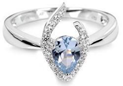 Strieborný prsteň s modrým kryštálom SC115