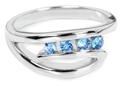 Stříbrný prsten s modrými krystaly SC136