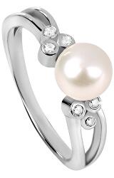 Ezüst gyűrű cirkóniákkal és gyöngy SC312