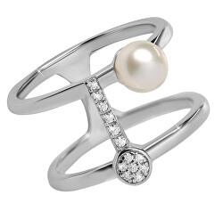 Stylový stříbrný prsten se zirkony a perlou SC336