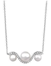 Elegantní stříbrný náhrdelník se zirkony a perlou SC340