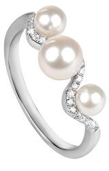 Stříbrný prsten se zirkony a perlou SC339