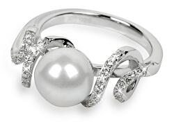 Strieborný prsteň s kryštálmi SC028