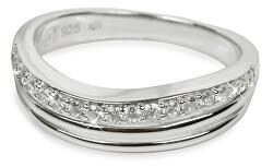 Stříbrný prsten s krystaly SC037