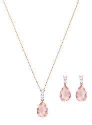 Bronzová sada šperků s růžovými krystaly Vintage 5451046 (náušnice, náhrdelník)