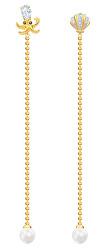 Designové pozlacené náušnice s perličkami 2v1 Ocean 5462583