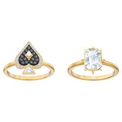 Luxuriöses vergoldetes Ringset mit Kristallen 55132