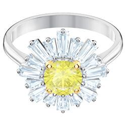 Půvabný květinový prsten s krystaly Sunshine 5482701