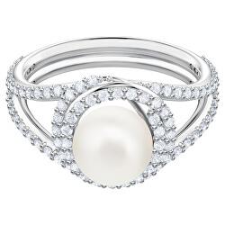 Půvabný prsten s perlou a třpytivými krystaly Swarovski Originally 54827