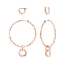 Sada růžově zlacených náušnic s krystaly Stone 5426004