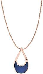 Dámsky bronzový náhrdelník s modrou perleťou Agnetha SKJ1359791