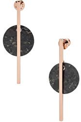 Luxusné oceľové náušnice s čiernym mramorom SKJ1375791