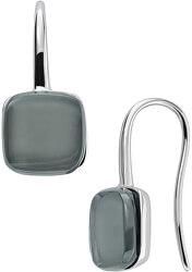 Nadčasové oceľové náušnice so šedým sklom Sea Glass SKJ0872040