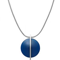 Oceľový náhrdelník s modrým sklom SKJ1296040