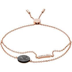 Půvabný bronzový náramek s mramorem a krystaly Ellen SKJ1378791