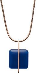 Ružovo pozlátený oceľový náhrdelník s modrým sklom SKJ1134791