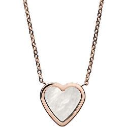 Ružovo pozlátený oceľový náhrdelník srdce SKJ1253791