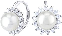 Krásne strieborné náušnice s pravou bielou perlou LPS0156A