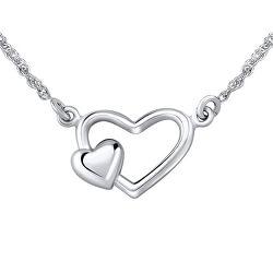 Romantický strieborný náhrdelník so srdiečkami ZTJ71251