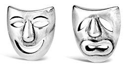 Stříbrné náušnice divadelní masky PRM11187