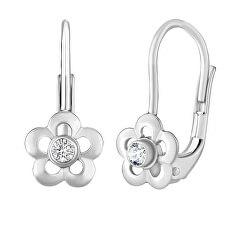 Stříbrné náušnice květinky se Swarovski® Zirkony SILVEGOB70164SW