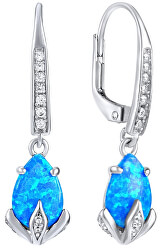 Ezüst fülbevaló kék opál kővel JJJE1267B