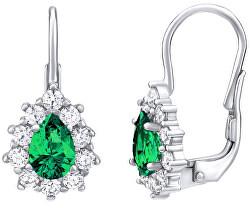 Stříbrné náušnice se zeleným kamenem Swarovski Created Stones SILVEGO31866G