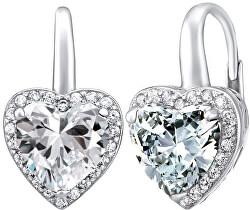 Stříbrné náušnice srdce se zirkony LPS0629EW