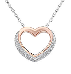Strieborný bicolor náhrdelník Srdce sa zirkónmi LPS0243R