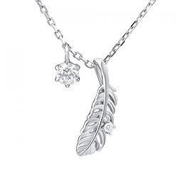 Decentný náhrdelník pierko s kryštálmi Swarovski MW11173S