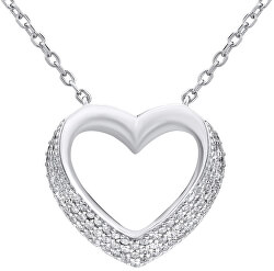 Strieborný náhrdelník SRDCE so zirkónmi LPS0243