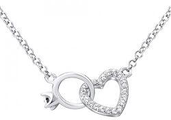 Strieborný náhrdelník srdce prepojené s prstienkom MWN01149