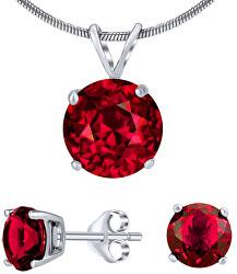 Stříbrný set šperků s červeným křišťálem JJJS7RR1 (náušnice, přívěsek)