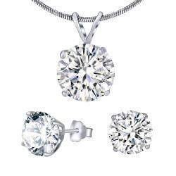 Stříbrný set šperků s čirým křišťálem JJJS5RC1 (náušnice, přívěsek)
