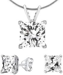 Strieborný set šperkov s čírym krištáľom JJJSQ55 (náušnice, prívesok)