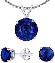 Strieborný set šperkov s tmavo modrým krištáľom JJJS8TM1 (náušnice, prívesok)