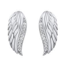 Třpytivé stříbrné náušnice Andělská křídla se zirkony Lasha FW10187E