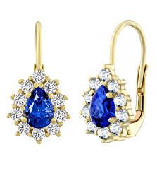 Zlaté náušnice s prírodným modrým topazom SILVEGO31866Y