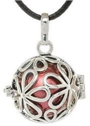 Dámský náhrdelník rolnička Velké kytičky - červená K3C18