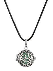 Dámský náhrdelník rolnička Velké kytičky - zelená metalická K3ZM18