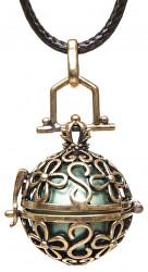 Dámsky náhrdelník zelená Rolnička Vintage K14ZZ18