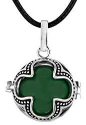 Dámsky náhrdelník zelená Rolnička Štvorlístok K16SZ18