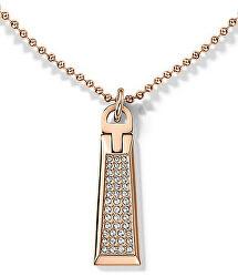 Bronzový náhrdelník se zipem s krystaly TH2700720