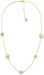 Hravý pozlacený náhrdelník s květinami TH2780366